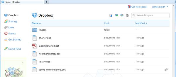 Dropbox korisničko sučelje