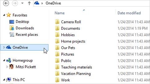 OneDrive korisničko sučelje