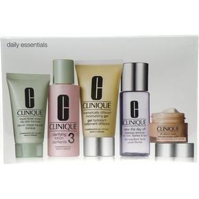 Clinique Daily Essentials Combination Skin darovni set gel za lice 50 ml + krema za oči 15 ml + tekući sapun za lice 30 ml + losion 60 ml + odstranjivač šminke 50 ml za žene